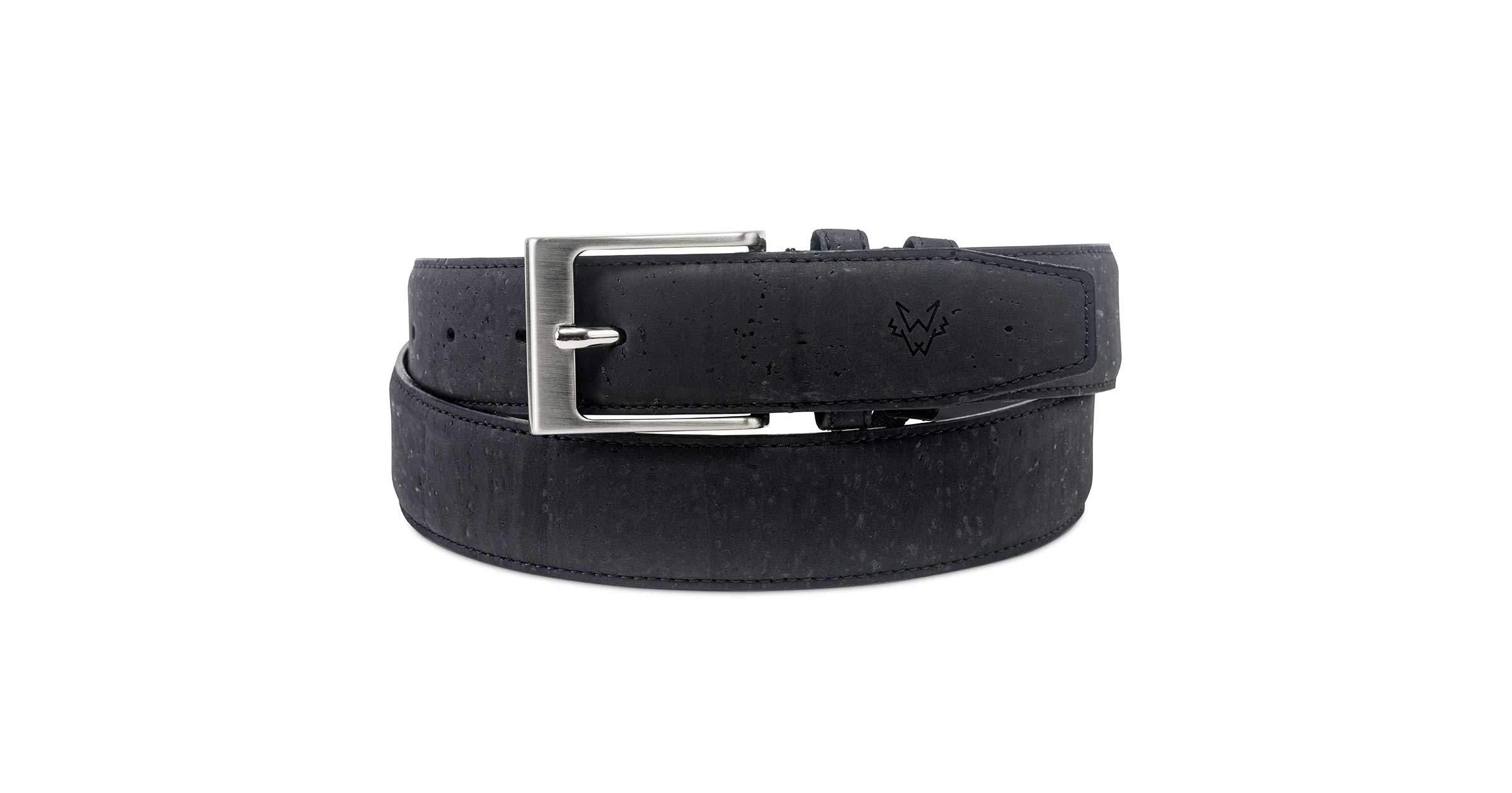 Mens Vegan Cork Leather Belt in Black | Watson & Wolfe