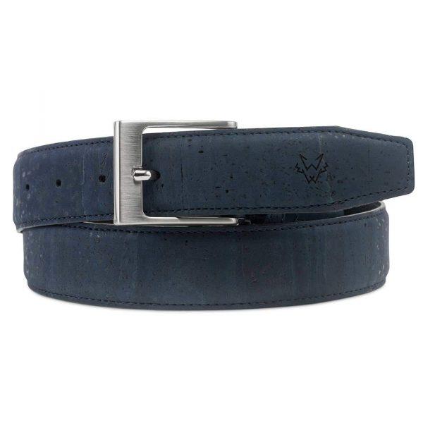 Mens Luxury Vegan Cork Belt in Blue | Watson & Wolfe