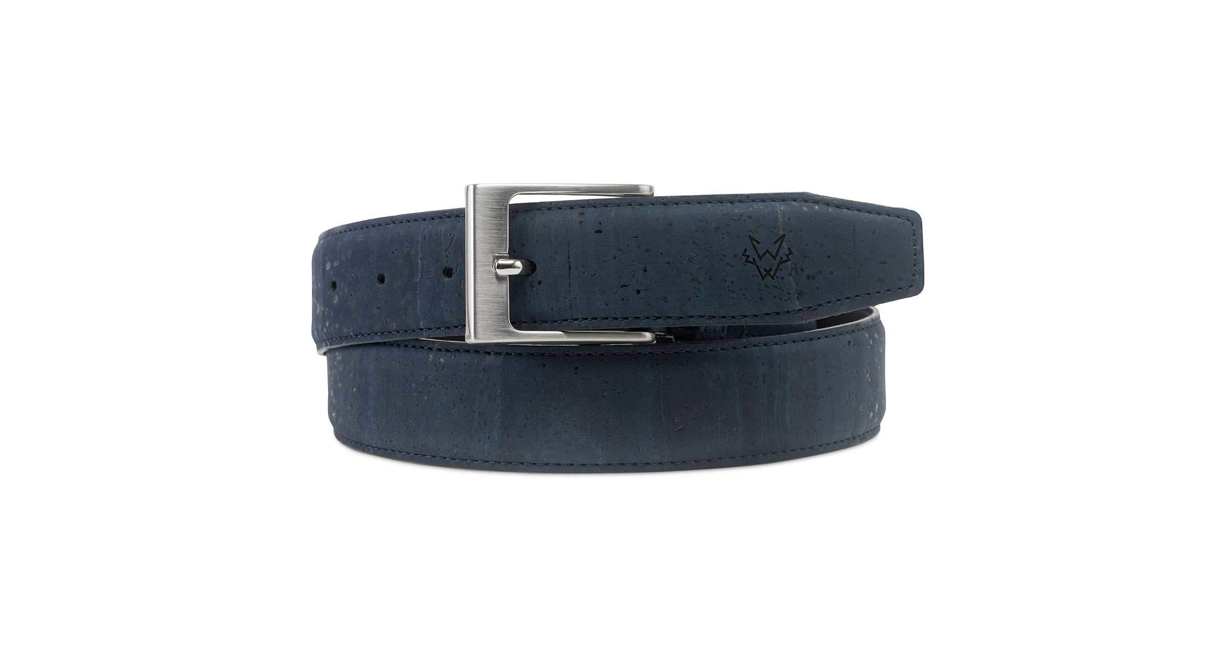 Mens Luxury Vegan Cork Belt in Blue | Watson & Wolfe