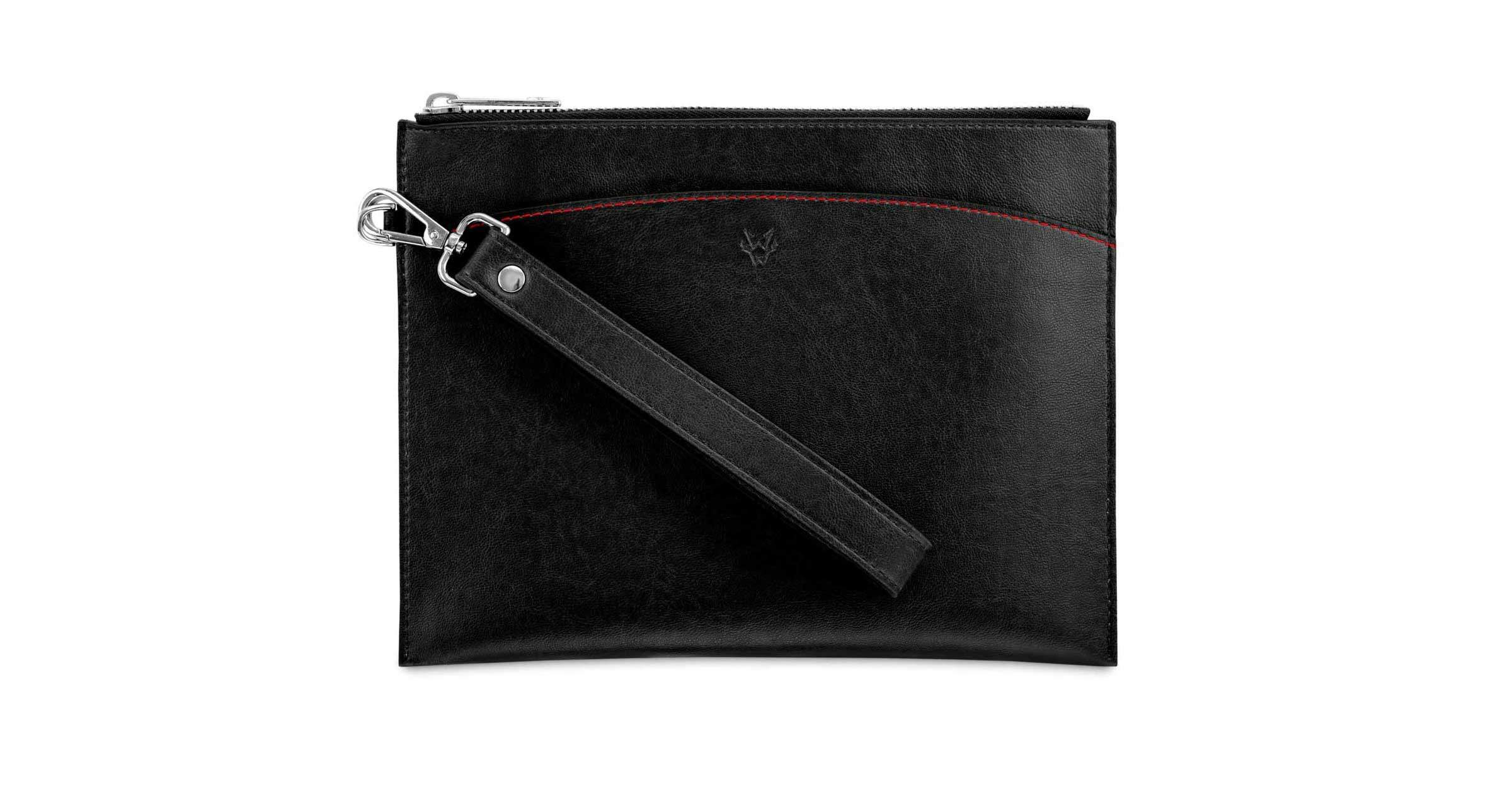 Vegan Pouch with Cuff in Black | Watson & Wolfe