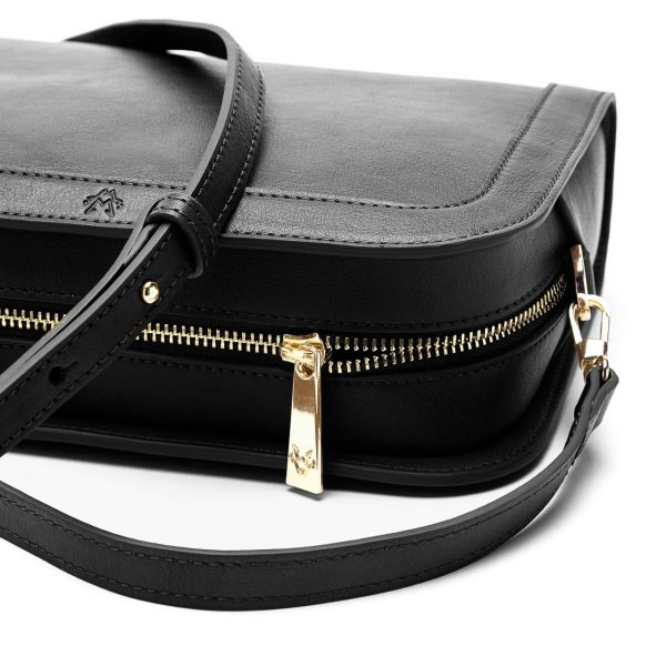Luxury Vegan Crossbody Bag in Black   Watson & Wolfe