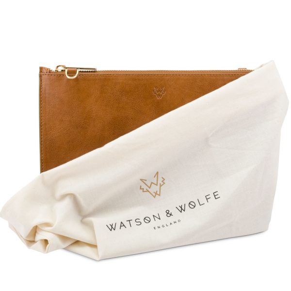 Handmade Pouch Bag in Cognac   Watson & Wolfe