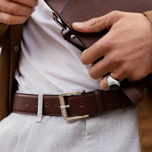 Classic Mens Vegan Belt in Brown | Watson & Wolfe