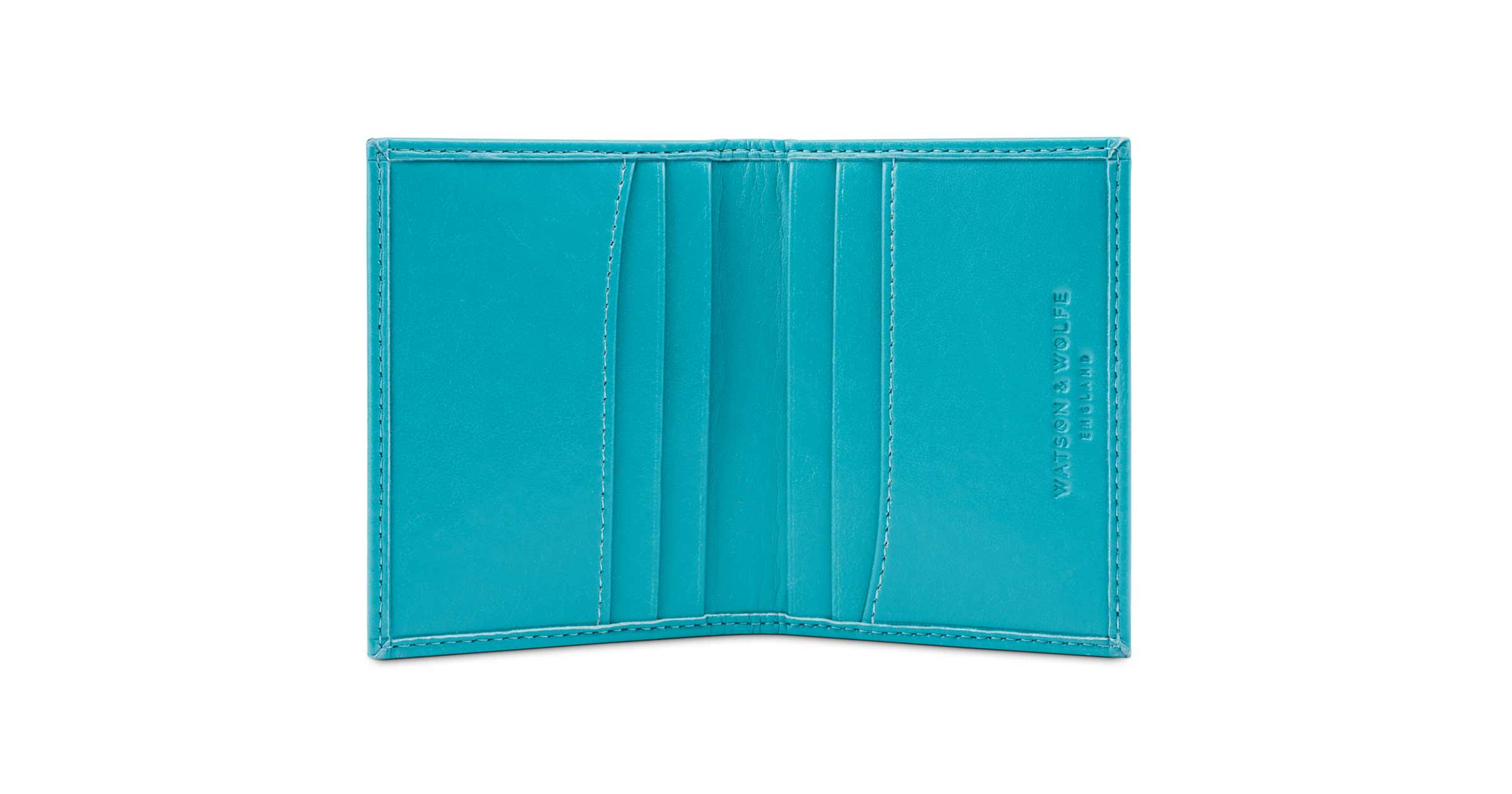Personalised Card Holder in Turquoise | Watson & Wolfe