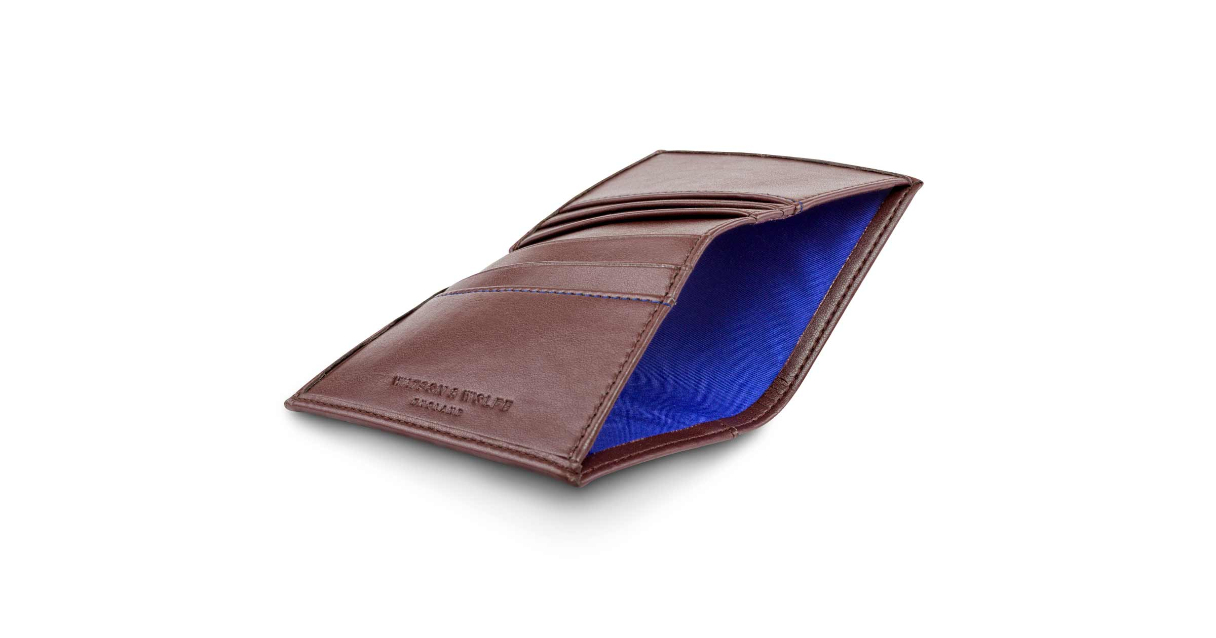 Folding Card Wallet with Notes Pocket in Chestnut | Watson & Wolfe