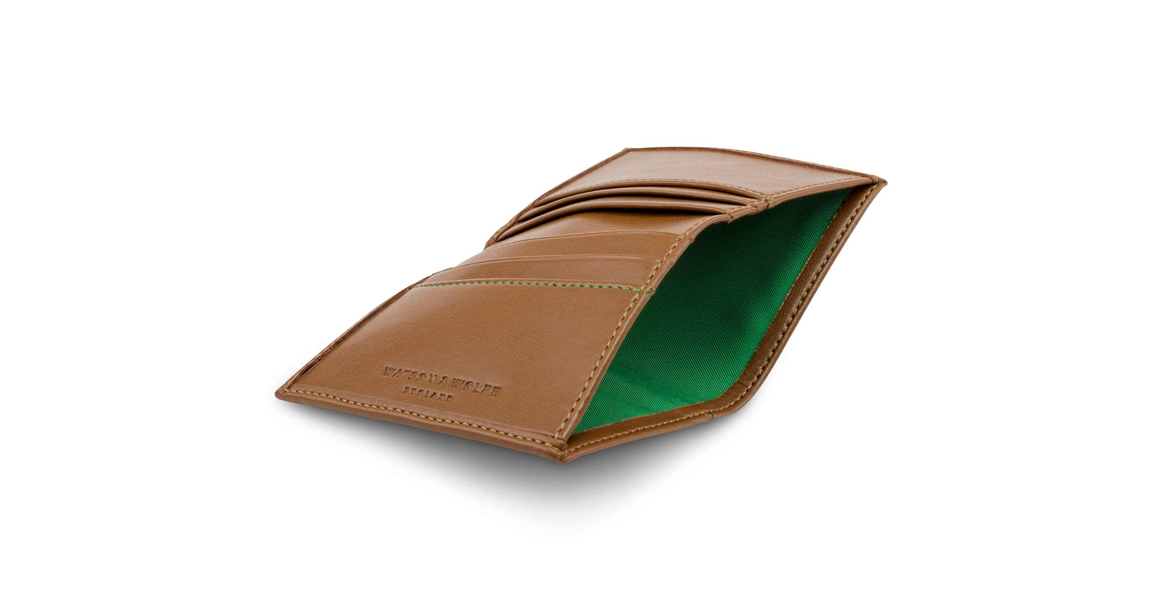 Folding Card Wallet with Notes Pocket in Toffee | Watson & Wolfe